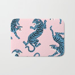 Pastel Pink & Blue Tiger Pattern Bath Mat