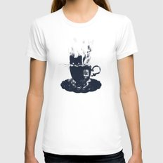 Having Tea With my Lovely Cat White SMALL Womens Fitted Tee