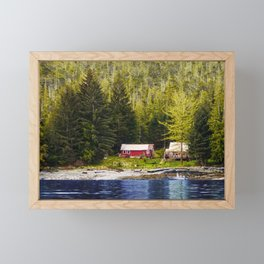 Old Houses on Evergreen Covered Coast Framed Mini Art Print