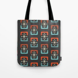 Mid Century Modern Starburst Shells Blue and Orange Tote Bag