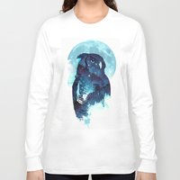 belle Long Sleeve T-shirts featuring Midnight Owl by Robert Farkas