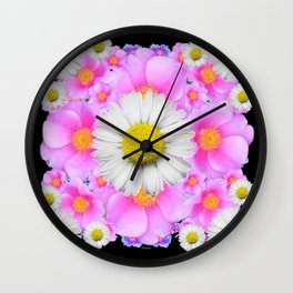 Ebony Black  Color Shasta Daisys & Rose Pattern Garden Art Wall Clock