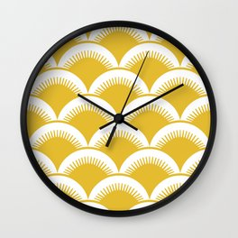 Japanese Fan Pattern Mustard Yellow Wall Clock