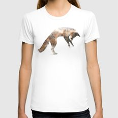 Jumping Fox White Womens Fitted Tee SMALL