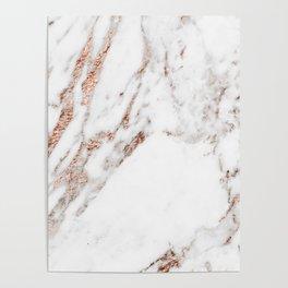 Rose gold foil marble Poster