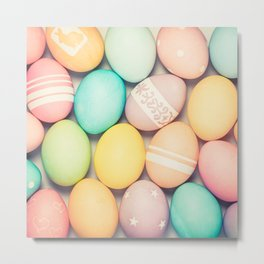 Colorful Easter Egg Photograph - Pink, Teal, Green Yellow and Orange Metal Print