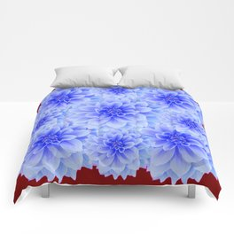 BLUE WHITE DAHLIA FLOWERS IN CHOCOLATE BROWN Comforters