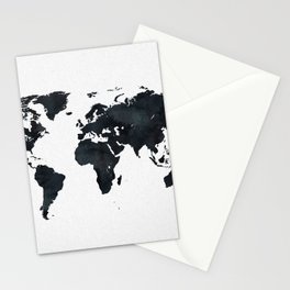 World Map in Black and White Ink on Paper Stationery Cards
