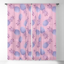 Violet pineapples Sheer Curtain