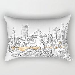 Modern and old Istanbul panorama drawing Rectangular Pillow