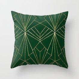 Art Deco in Gold & Green - Large Scale Deko-Kissen