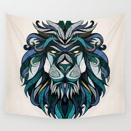 Blue Lion Wall Tapestry