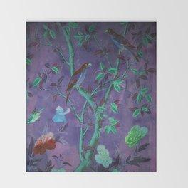 Aubergine & Teal Chinoiserie Throw Blanket