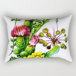 Vintage Wildflowers Thistle Rectangular Pillow