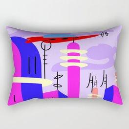 Pink Florida mood,  landscape with spaceship Rectangular Pillow