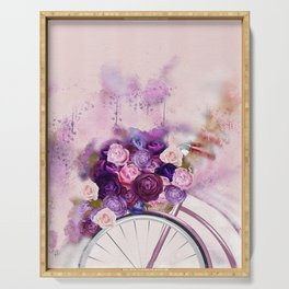 Vintag Bicycle and Flowers Serving Tray