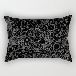 Clockwork B&W inverted / Cogs and clockwork parts lineart pattern Rectangular Pillow