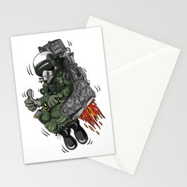 Military Fighter Jet Pilot Ejection Seat Cartoon Illustration Stationery Cards