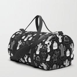 Black & White Cactus Doodle Pattern Duffle Bag