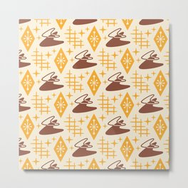 Mid Century Modern Space age Boomerang Pattern 339 Yellow and Brown Metal Print