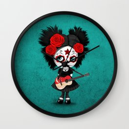 Day of the Dead Girl Playing Singapore Flag Guitar Wall Clock