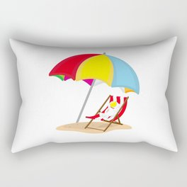 Space Odyssey | Astronaut Lounging at the Beach | Sea Side | Space | Umbrella | pulps of wood Rectangular Pillow