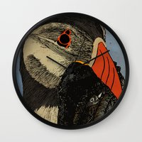 puffin Wall Clocks featuring Puffin  by EmilyGrantDesign