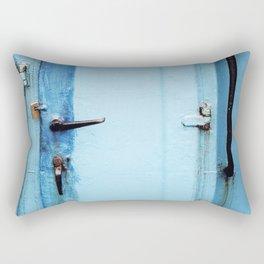turquoise metal door Rectangular Pillow