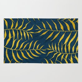 Golden Palm tree blue Rug