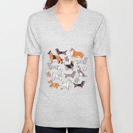 Origami doggie friends // grey linen texture background Unisex V-Neck
