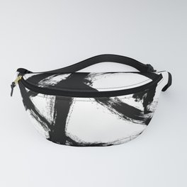Brushstroke 5 - a simple black and white ink design Fanny Pack
