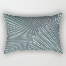 Tropical Palm Leaf Matte Teal Rectangular Pillow