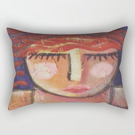 Wavy Red Hair Abstract Portrait of a Woman on OSB Board Rectangular Pillow