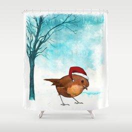 Christmas Robin Shower Curtain