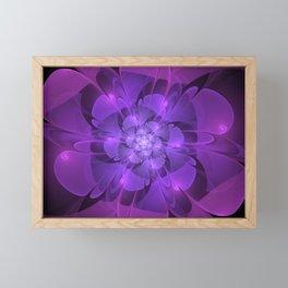 Purple Dew Drops   Abstract digital flower Framed Mini Art Print