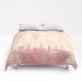 City of Dreamers. Los Angeles skyline photograph Comforters