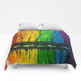 Rainbow Abstract Painting. Woods. Red Yellow Orange Green Blue Purple Comforters
