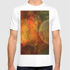 Abstract moons MEDIUM Mens Fitted Tee White