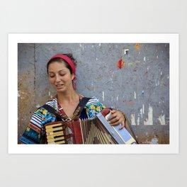 Street scene artwork - colorful street photography - Gypsy woman Art Print