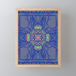 Dark Blue and Gray Neon Boho Ethnic Mandala Framed Mini Art Print