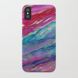 AGATE MAGIC PinkAqua Red Lavender, Marble Geode Natural Stone Inspired Watercolor Abstract Painting iPhone Case