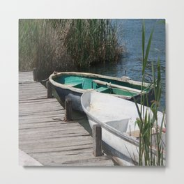 Reeds, Rowing Boats and Old Jetty at Dalyan Metal Print