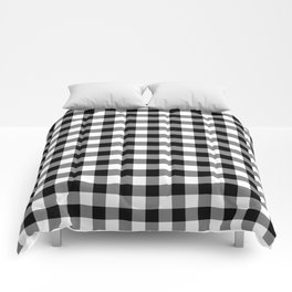Gingham Check Pattern Black, White, Gray Comforters