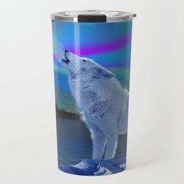 Arctic Prayer - White Wolf and Aurora Travel Mug