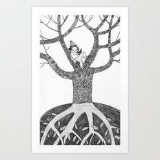 Winter reading Art Print
