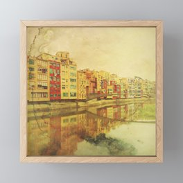 The river that reflects the city Framed Mini Art Print