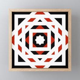 Black White Red Abstract Star Blossom Framed Mini Art Print