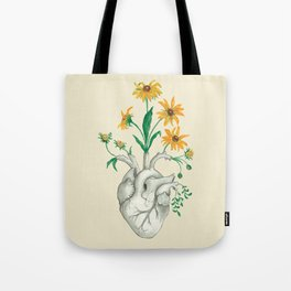 Floral Heart: Sunflower Human Anatomy Tote Bag