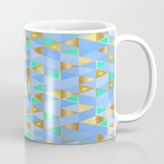 Contemporary Faux Gold and Blue Triangles Pattern Mug