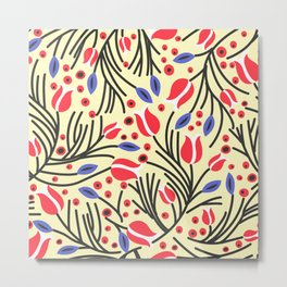 Waves of Flower (Bright Color Floral) Metal Print